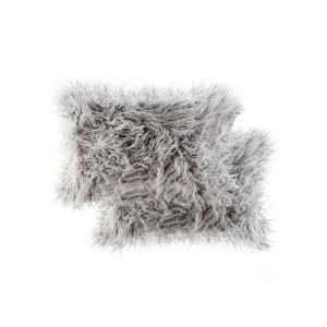 """Coussin en fourrure de Mongolie, 12""""x20"""", 2 pqt, gris"""