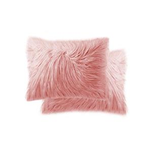 LUXE Mongolian Rose 12-in x 20-in Faux Fur Pillows (2 Pack)