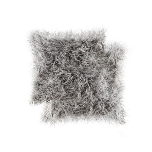 LUXE Mongolian Dark Grey 20-in x 20-in Faux Fur Pillows (2 Pack)