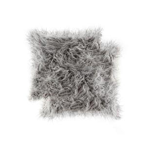 "Coussin en fourrure de Mongolie, 20""x20"", gris,  2 pqt"
