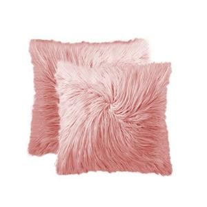 "Coussin en fourrure de Mongolie, 20""x20"", rose, 2 pqt"