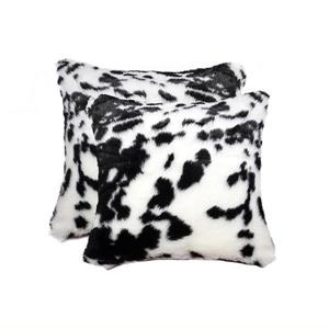 Luxe Belton 18-in Square Black and White Faux Fur Pillows (2 Pack)