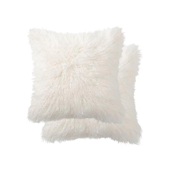 Luxe Belton 18-in Square Off-White Faux Fur Pillows (2 Pack)