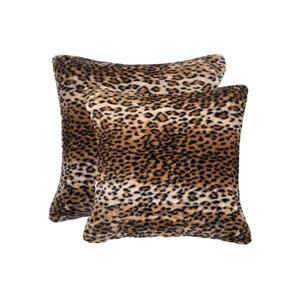 Luxe Belton 18-in Square Leopard  Faux Fur Pillows (2 Pack)