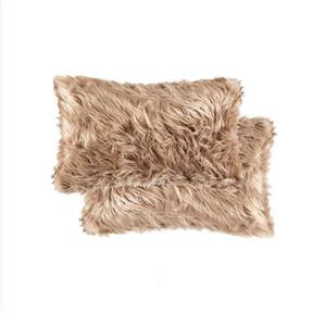 LUXE Belton 12-in x 20-in Tan Faux Fur Pillows (2 Pack)