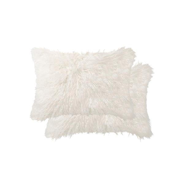 Luxe Belton 12-in x 20-in Off-White Faux Fur Pillows (2 Pack)