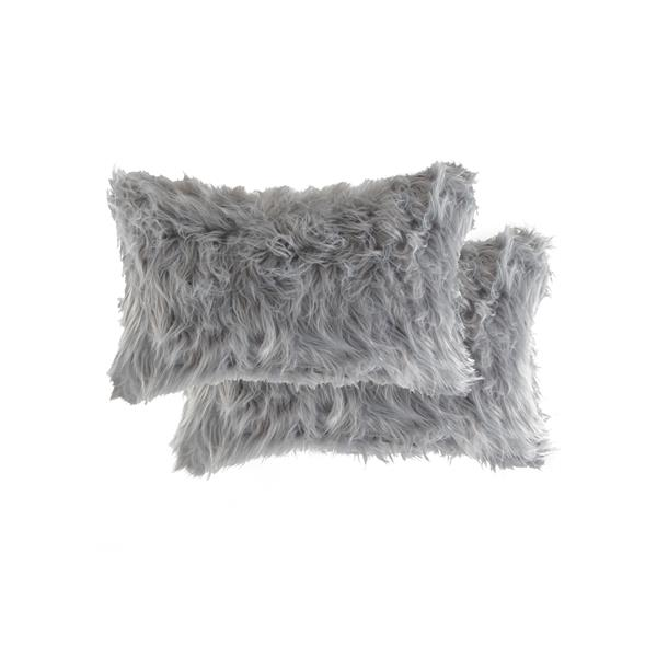 Luxe Belton 12-in x 20-in Gray Faux Fur Pillows (2 Pack)