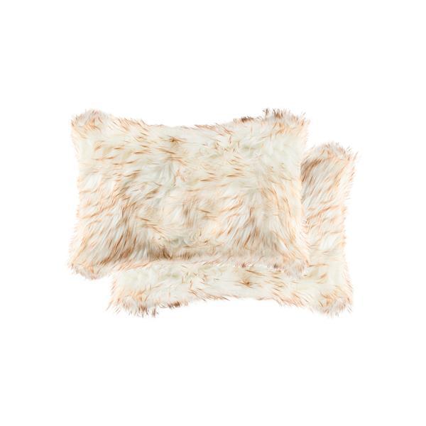 Luxe Belton 12-in x 20-in Gradient Tan Faux Fur Pillows (2 Pack)