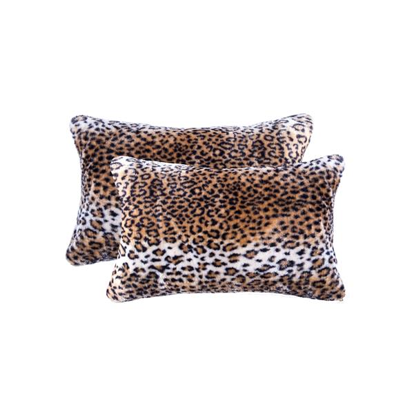 Luxe Belton 12-in x 20-in Leopard Faux Fur Pillows (2 Pack)