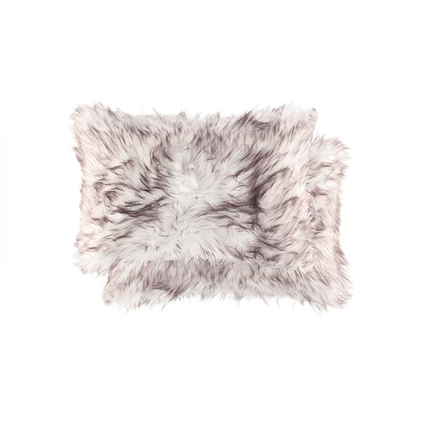 Luxe Belton 12-in x 20-in Gradient Chocolate Faux Fur Pillows (2 Pack)