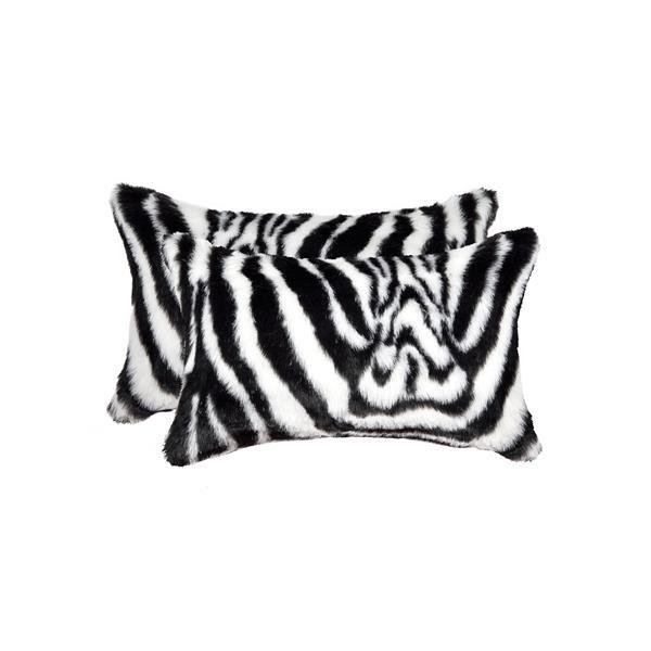 """Coussin en fausse fourrure Belton, 12""""x20"""", zebre, 2 pqt"""