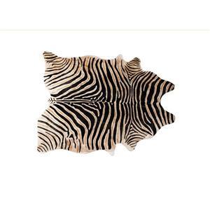 Tapis Togo en peau de vachette, 6'x 7', zebre africain