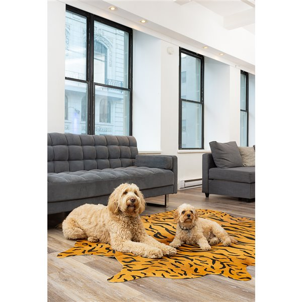 Natural by Lifestyle Brands 6' x 7' Tiger Chocolate/Natural Togo Cowhide Rug
