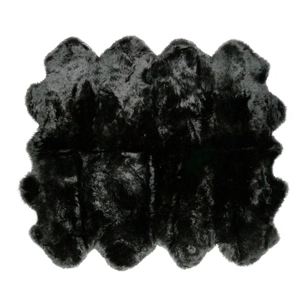 Natural by Lifestyle Brands 7-ft x 6-ft Black New Zealand Octo Sheepskin Rug