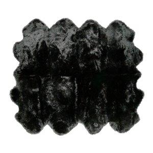 Tapis Octo en peau de mouton ,7'x 6', noir
