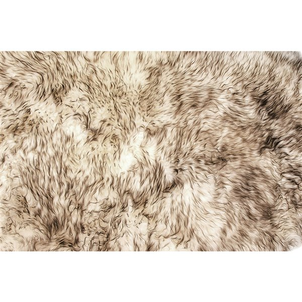 Natural by Lifestyle Brands 7-ft x 6-ft Chocolate New Zealand Octo Sheepskin Rug