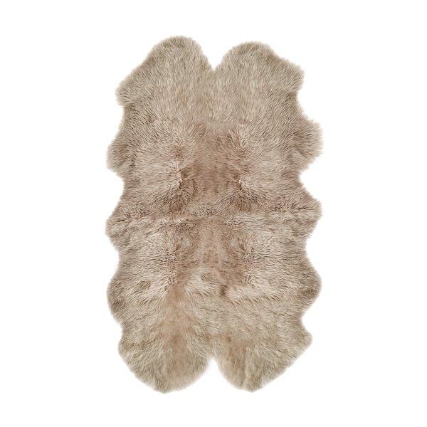Tapis Quattro en peau de mouton ,4'x 6', taupe