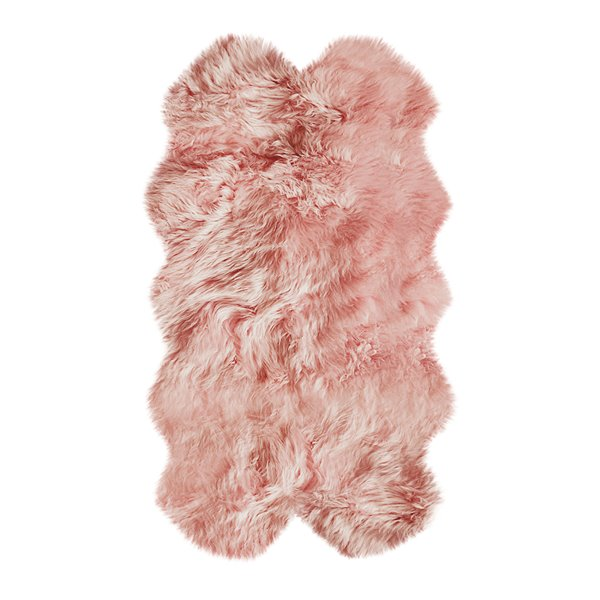 Natural by Lifestyle Brands 4-ft x 6-ft Pink New Zealand QuattroSheepskin Rug