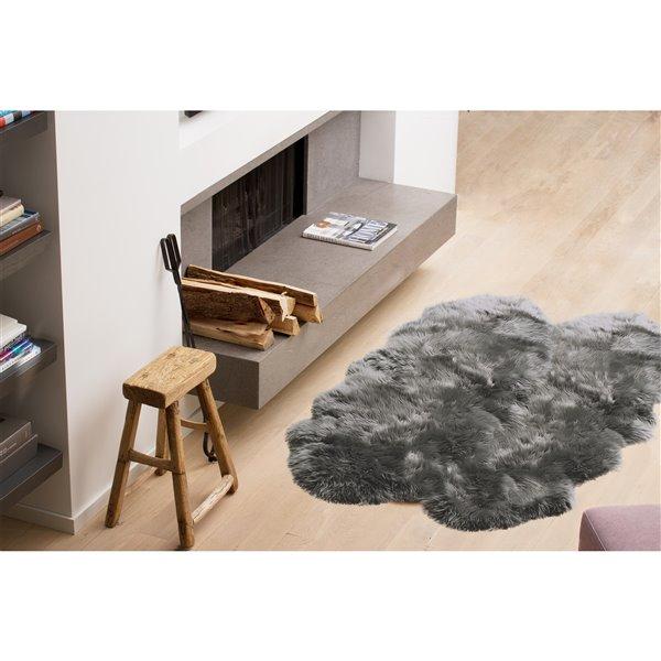 Tapis Quattro en peau de mouton ,4'x 6', gris