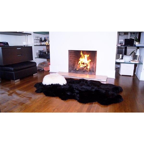 Tapis Quattro en peau de mouton ,4'x 6', noir