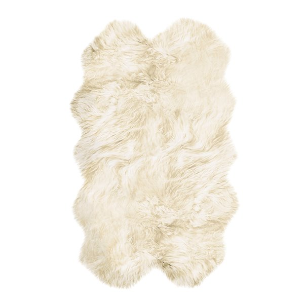 Natural by Lifestyle Brands 4-ft x 6-ft Natural New Zealand Quattro Sheepskin Rug