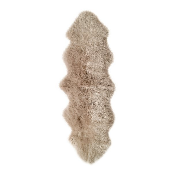 Natural by Lifestyle Brands 2-ft x 6-ft Taupe New Zealand Double Sheepskin Rug