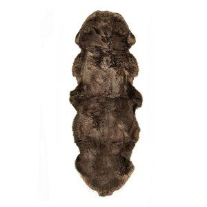 Tapis double en peau de mouton ,2'x 6', chocolat