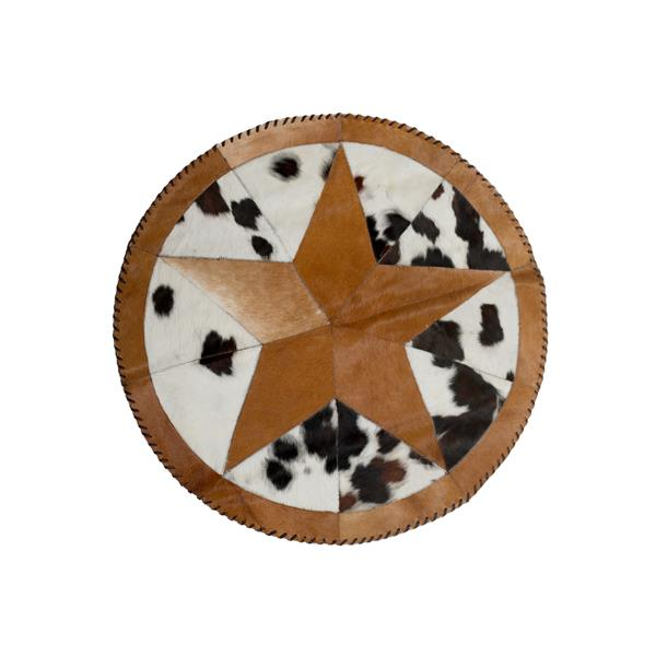 Natural by Lifestyle Brands 3-ft 6-in Round Multicoloured Star Stitch Cowhide Rug