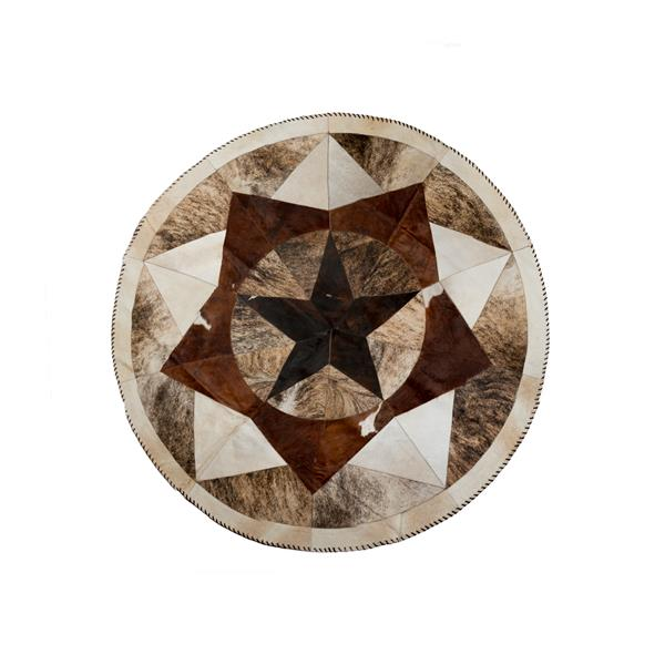 Natural by Lifestyle Brands 5-ft Round Multicoloured Tri-Star Stitch Cowhide Rug