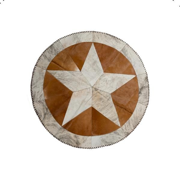 Natural by Lifestyle Brands Lifestyles Brands Natural 3-ft x 6- in Round Brown/Natural Star Stitch Cowhide Rug