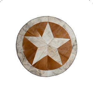 Tapis rond etoile en peau de vachette, 3,5', brun/naturel