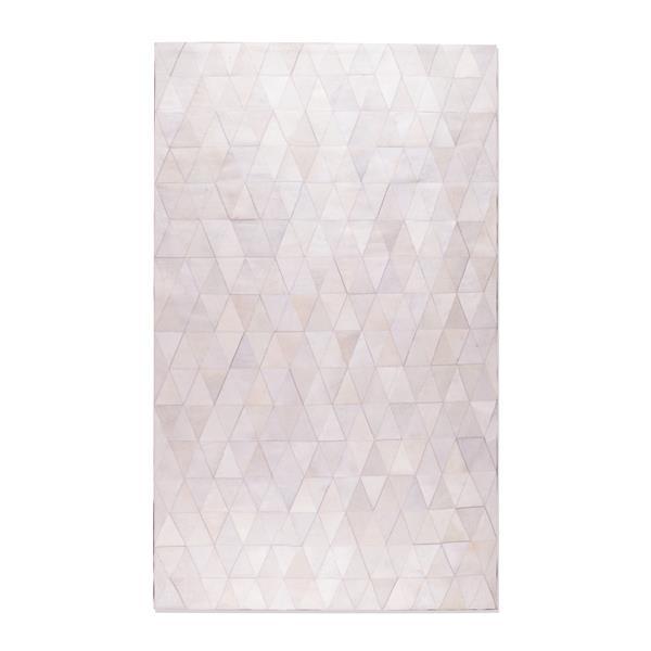 Tapis Mosaique en peau de vache, 8'x 10', blanc casse
