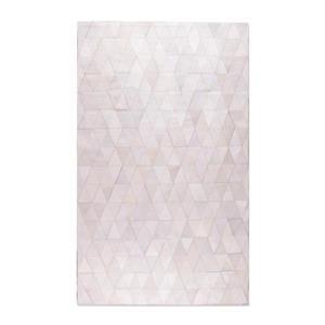 Tapis Mosaique en peau de vache, 5'x 8', blanc casse