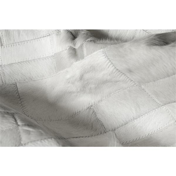Natural by Lifestyle Brands 5-ft x 8-ft Gray Madrid Cowhide Stitched Rug