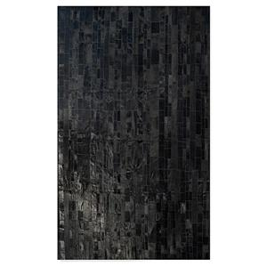 Natural by Lifestyle Brands 5-ft x 8-ft Black Madrid Cowhide Stitched Rug