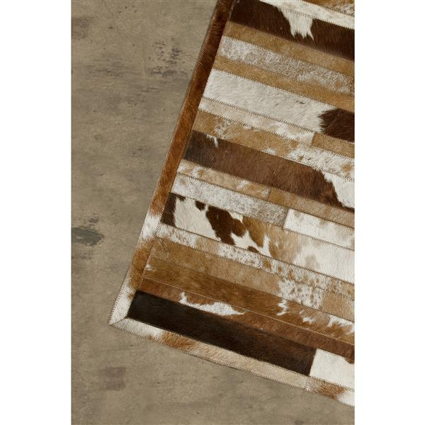 Tapis lineaire en peau de vache, 8' x 10', marron/blanc