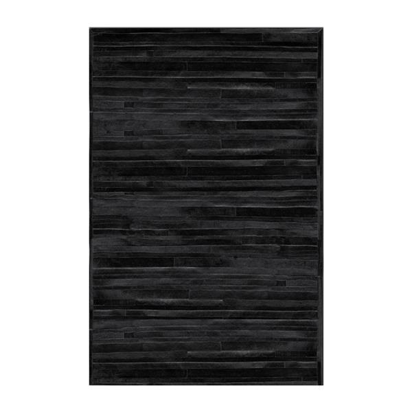 Natural by Lifestyle Brands 8-ft x 10-ft Black Linear Cowhide Area Rug