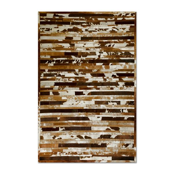 Natural by Lifestyle Brands 5-ft x 8-ft Brown & White Linear Cowhide Stitched Rug