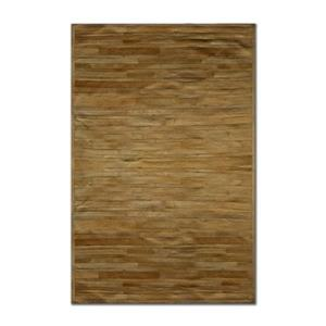 Natural by Lifestyle Brands 5-ft x 8-ft Tan Linear Cowhide Stitched Rug