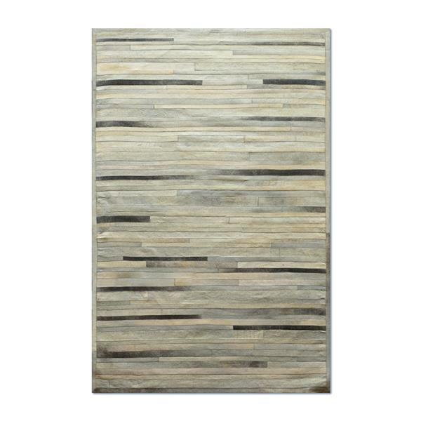 Natural by Lifestyle Brands 5-ft x 8-ft Gray Linear Cowhide Stitched Rug