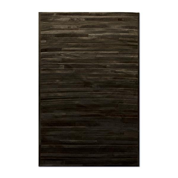 Natural by Lifestyle Brands 5-ft x 8-ft Chocolate Linear Cowhide Stitched Rug
