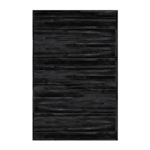 Tapis lineaire en peau de vache, 5' x 8', noir