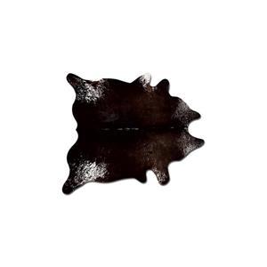 Tapis kobe en peau de vache, 5' x 7', chocolat/blanc