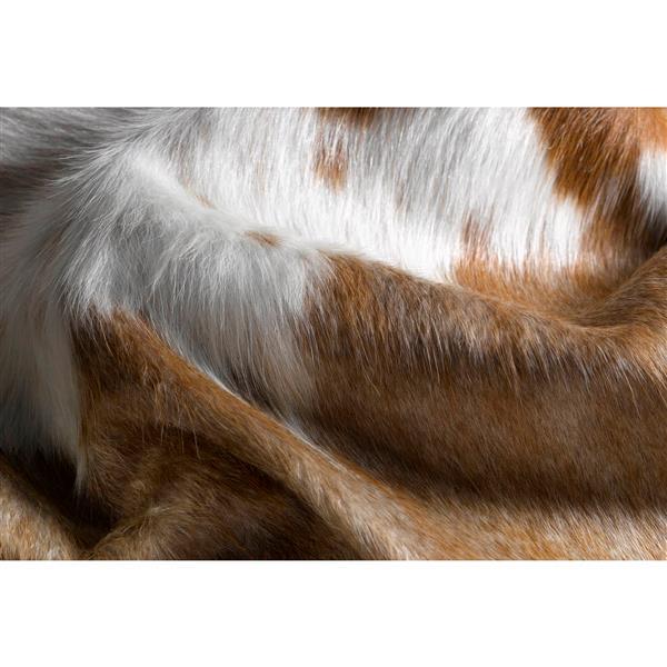 Tapis kobe en peau de vache, 5' x 7', marron/blanc