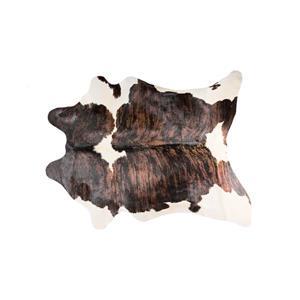 Tapis kobe en peau de vache, 6' x 7', marron/blanc