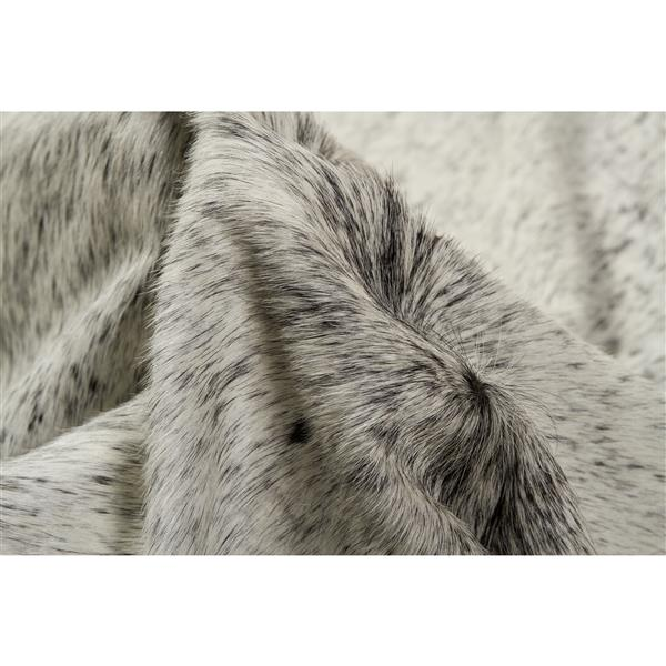 Tapis kobe en peau de vache, 6' x 7', gris clair