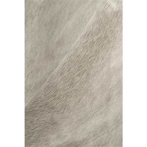 Tapis kobe en peau de vache, 6' x 7', naturel/gris clair