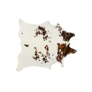 Tapis kobe en peau de vache, 6' x 7', multicolore