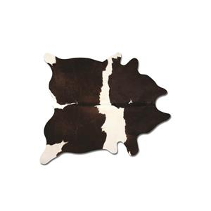 Tapis kobe en peau de vache, 6' x 7', noir / blanc