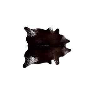 Tapis kobe en peau de vache, 6' x 7', chocolat / blanc